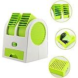 Ventilador de Mesa PLUIESOLEI Mini Ventilador Aire acondicionado Batería de carga USB portátil Desarrollado para oficina El Pack Solid Perfume está incluido (verde)