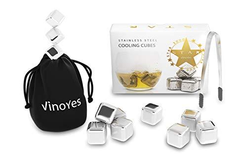 VinoYes Premium Whisky Steine – 8er Kühlsteine als Geschenk Set | Mit Zange + Aufbewahrungsbeutel | Wiederverwendbare Eiswürfel für Gin, Cocktails, Limo und mehr.