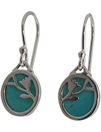 Sterling Silver and Turquoise Flower Design Drop Earrings