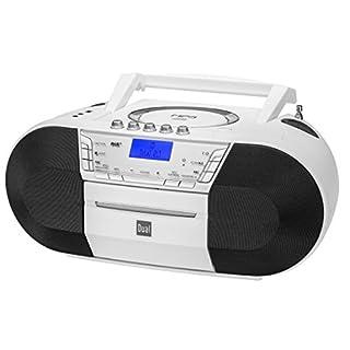 Dual DAB-P 200 Boombox mit Kassettenabspieler (CD-Player (MP3), DAB+/UKW-Radio, USB-Anschluss, Kopfhöreranschluss, AUX-IN) weiß
