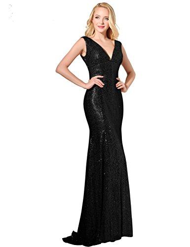 Sarahbridal Glitzer Bodenlang V-Ausschnitt Abendkleider mit Pailletten Partykleider Festkleider SSD351 Schwarz