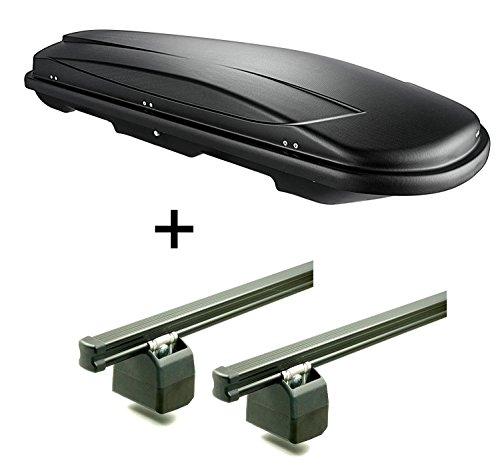 Dachbox VDPJUXT600 Liter abschließbar + AURILIS PRO Dachgepäckträger kompatibel mit VW T5 2003-2010 und ab 2010