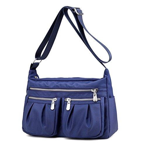 Nylon borsa donna impermeabile oxford panno borsa zaino canvas borsa viaggio signora pacco spalla borsa casual bag- Blu