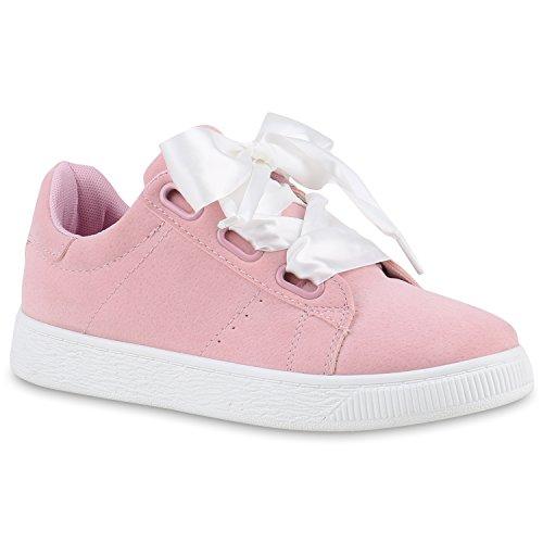 Damen Sneakers Sneakers Low Satinoptik Wedges Schuhe Wedge Rosa