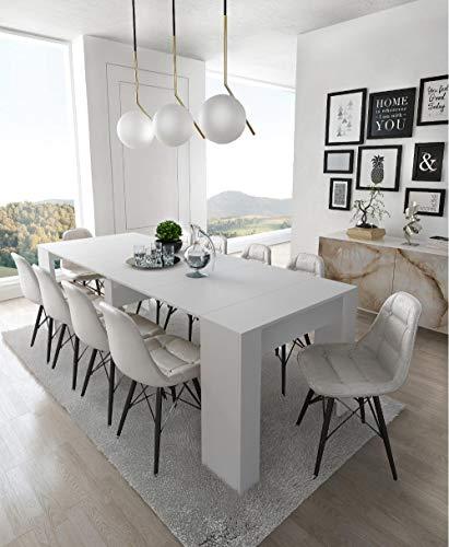 Home Innovation- Konsoletisch, Esstisch ausziehbar bis 237 cm, Esszimmertisch und Wohnzimmertisch, rechteckig, weiß glänzend, Maße geschlossen: 90x50x78 cm hoch. Bis zu 10 Sitzplätze.