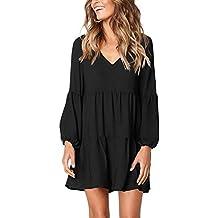 381efa76b3c83 Dasbayla Robes Femmes Elegante Manche Longue Tunique Robe Col en V S-2XL