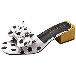 Zapatillas de Punta Abierta con Estampada Lunares de Arco de Mujer Cuadrada y Gruesa Sandalias de Tacón Ancho TOPKEAL (40 EU, Blanco)
