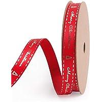 RUSPEPA Weihnachten Red Satin Ribbon - Gold Frohe Weihnachten Mit Baum Folie Design Für Geschenkpapier - 9Mm X 10 Yard