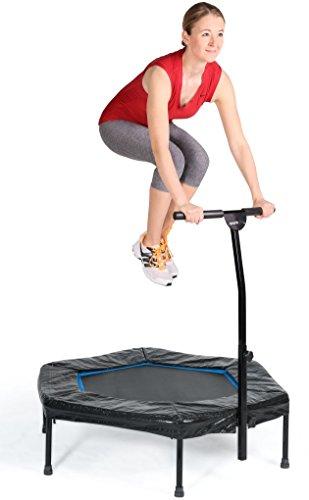 SportPlus Fitness Trampolin, Bungee-Seil-System, Ø 110 cm, bis 130 kg Benutzergewicht, TÜV Süd Sicherheit geprüft, blau - 2