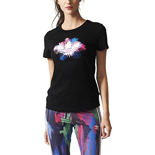 adidas Damen T-shirt FLORAL TREFOIL, Schwarz, 36, 4056559426064 (Schwarz Shirt Floral)