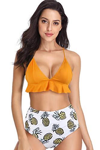 Hotelvs Damen Farbverlauf Krawattenknoten Front Hochdrücken Bikini-Set Schale Zweiteilige Badeanzüge (Gelb-Ruffles, X-Large)