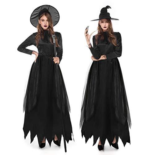 Cosplay Kostüm Zauberin - XBYUK Hexen-Kostüm Damen Zauberin Hexe Kostüm Faschingskostüme Cosplay Halloween Party Karneval Fastnacht Kleid für Erwachsene Damen Hexenkostüm 3 Größen (Schwarz) M