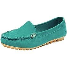 Fami Scarpe da Donna Comode Scarpe da pisello Scarpe da Barca Casual Slip-On (36 CN, Verde)