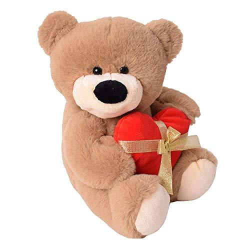 TE-Trend Plüsch Teddy Bär mit rotem Herz und Schleife sitzend 33cm Kuscheltier Teddybär braun