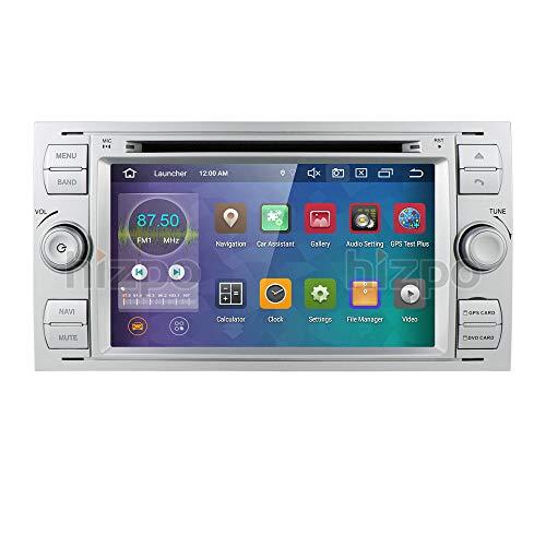 hizpo Android 10 Octa core autoradio doppel din Stereo headunit für Ford Focus Mondeo s-max c-max Galaxy unterstützung GPS Navigation Bildschirm Spiegel 4g WiFi obd2 dab + SWC DVD Radio (Silber)