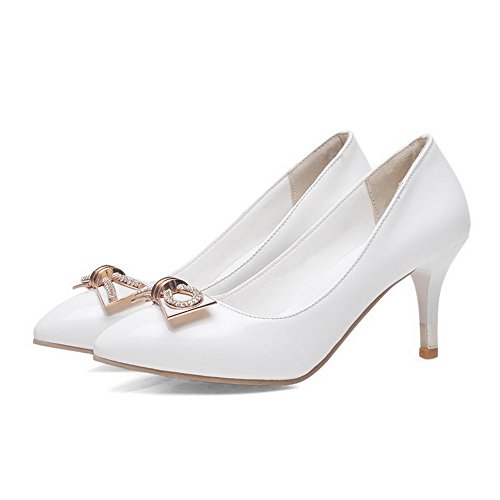 AgooLar Femme Pu Cuir Mosaïque Tire Pointu à Talon Haut Chaussures Légeres Blanc