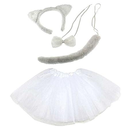 Lizzy® Damen Kostüm White Cat Tutu Costume (Kinder Cat Halloween Kostüme)