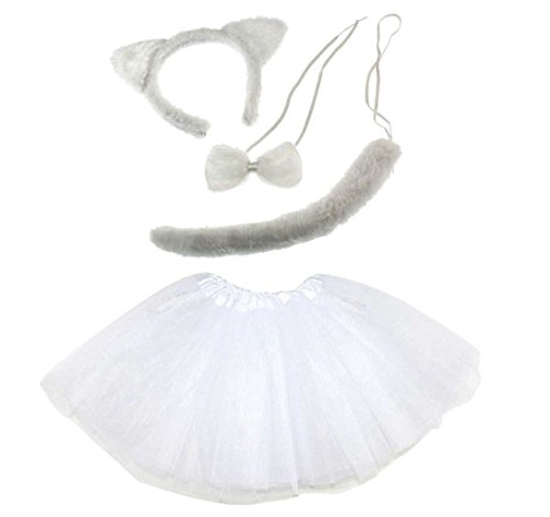 Lizzy® Damen Kostüm White Cat Tutu Costume (Cat Fancy Dress Kostüme Für Erwachsene)