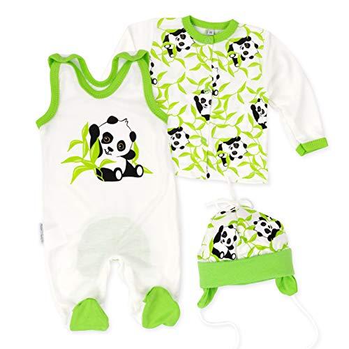 Baby Sweets Baby Set Strampler + Shirt + Mütze Unisex beige grün | Motiv: Happy Panda | Babyset 3 Teile aus Bambus für Neugeborene & Kleinkinder | Größe: 1 Monat (56)