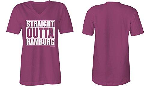 Straight Outta Hamburg ★ V-Neck T-Shirt Frauen-Damen ★ hochwertig bedruckt (07) pink