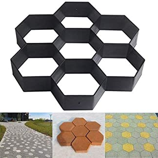 Malayas Molde para Cemento Molde para Hormigón Hacer Pavimientos Caminos Jardín Patio Balcón Terraza Material de Plástico Resistente Forma Hexagonal 29x29cm