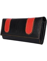 Yark Genuine Leather Ladies Hand Wallet With 6 Cards Slot (8021-Black)