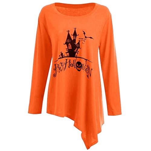 KPPONG Halloween Kostüm Damen Spukhaus Muster Pullover Unregelmäßiger Saum Sweatshirt Locker Pulli Blusen Langarmshirt