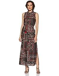 global desi Women's A-Line Maxi Dress (EC18G265MXCFBLACKXS_Black_XS)