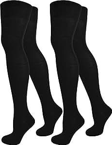 2 Paar Damen Overknee Überknie uni in Schwarz oder Weiß Farbe Schwarz
