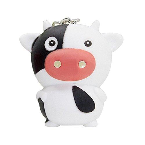 Verlike Lovely Cartoon LED Beleuchtung Kuh Anhänger Schlüsselanhänger Kreativ Schlüsselanhänger Geschenk, Plastik, Schwarz/Weiß