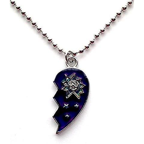 El estado de ánimo de corazón 33,02 cm gargantilla collar del encanto cadena de bolas de plata de ley Retro de los años 80 90s