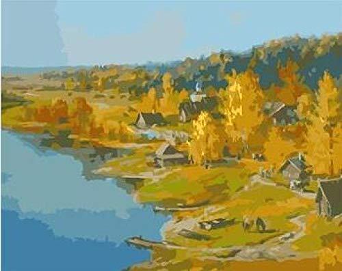 WYTCY Fluss In Der Nähe des Dorfes Handgemalte Rahmenlose Malerei Landschaftsbild Dekor Malen Nach Zahlen Auf Leinwand 40x50cm