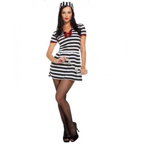 Räuber Outfit Sexy (Sexy Damen Gefangene Sträflings Cops & Robbers Hen Do Kostüm)