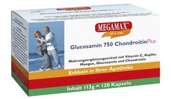 Megamax Glucosamin 750 mg + Chondroitin + Vitamin C + Mangan + Kupfer. Inhalt: 120 Kapseln