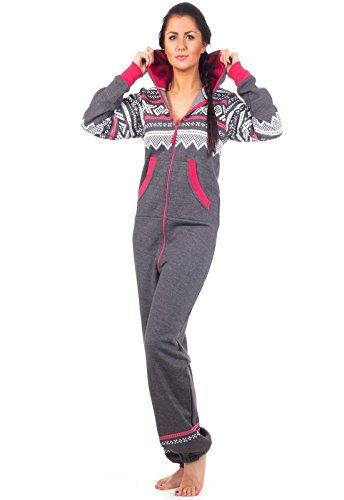 Loomiloo - gemütlicher Jumpsuit für Damen in Dunkelgrau
