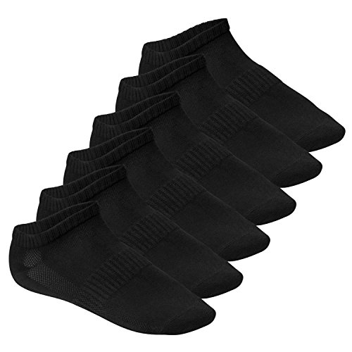 Footstar Funktions Sneaker Socken - 6 Paar schwarz - 39-42