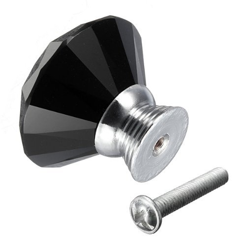 eBus 12X Crystal Glass Diamond Shape Cabinet Knob Cupboard Drawer Pull Handle (40MM, Black)