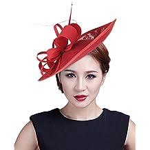 GEMVIE Mujer Clip de Pelo Sombrero Flor para Boda Fiesta Decoración Alto  16CM bdb003b177e