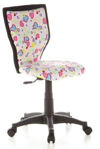 hjh OFFICE 670070 Kinder-Schreibtischstuhl KIDDY LUX Stoff-Bezug Pink Herzen Blumen Drehstuhl Ergonomisch
