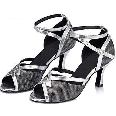 Silence @ pour femme Chaussures de danse latine Paillettes scintillantes Chunky Talon Noir/argent/doré/autres noir