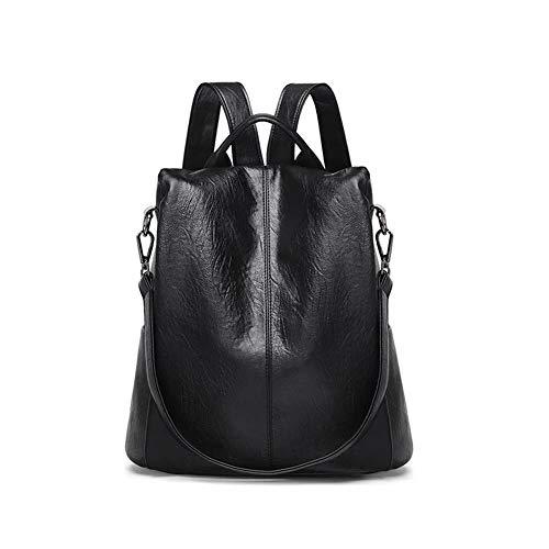 DRENECO Diebstahlsicherer Weiblicher Rucksack, Damen Leder Rucksack Casual Reisetasche Daypack Schulrucksäcke Satchel