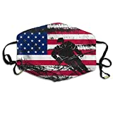 USA American Flag Ice Hockey Face Mouth Mask Unisex Polyester Comfy Anti Dust Masks