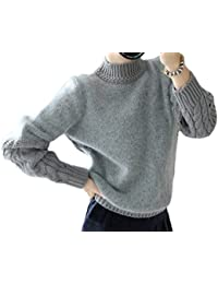 Mujer Cuello Redondo Batwing Manga Large Jersey Oversize Raya Suéter de Punto Grueso Calentar Invierno Camisas Jumper