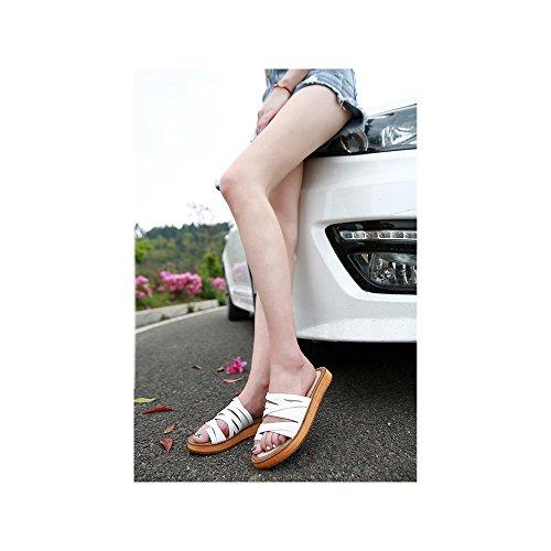 Femme Mule Laniere Decoupee Mode Blanc