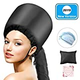 Bonnet Hood Hair Dryer, LC-dolida Soft Bonnet Hooded Hair Dryer Hand Free for Natural Curly Hair Care Deep Conditioning Cap Styling Curling Updated Extended Hose Length With Blue Dry Towel