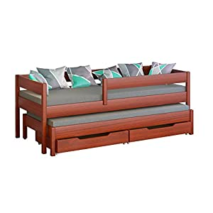 Jula Single bed for kids with trundle. Drawers included (180x80/170x80, Palisander)   7