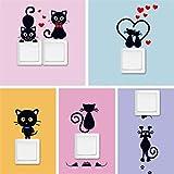 zhuangyulin6 5 Pezzi Adesivo per Interruttore Rimovibile DIY Black Cat Love Cartoon, Adesivi per Interruttore del Frigorifero per WC Adesivi per pareti, Adesivo per Interruttore della Luce