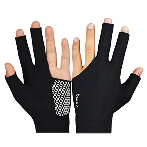 Bobury BOODUN Billiard Pool-Ball-Shooters 3 Fingers atmungsaktive Soft Anti-Rutsch Anti-Rutsch-Sport Lycra Ein Paar Handschuhe