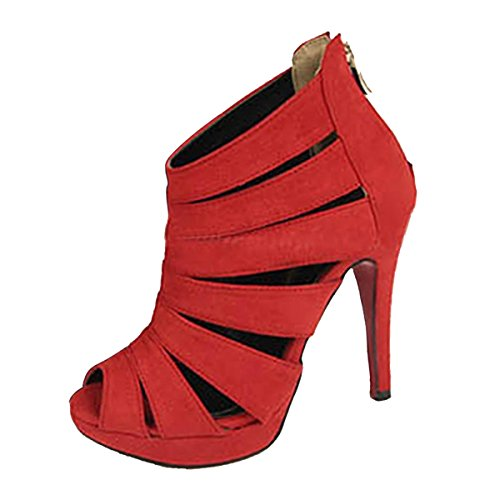 SODIAL(R) Sandalias de tacon alto de mujer Zapatos Zapatillas de plataforma de dedo del pie abierto tobillo Rojo Tamano 37
