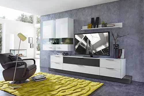 9-tlg Wohnwand in Hochglanz weiß/grau mit Akustik-Fächern und LED-Beleuchtung, Gesamtmaß B/H/T ca. 300/208/51 cm - 2